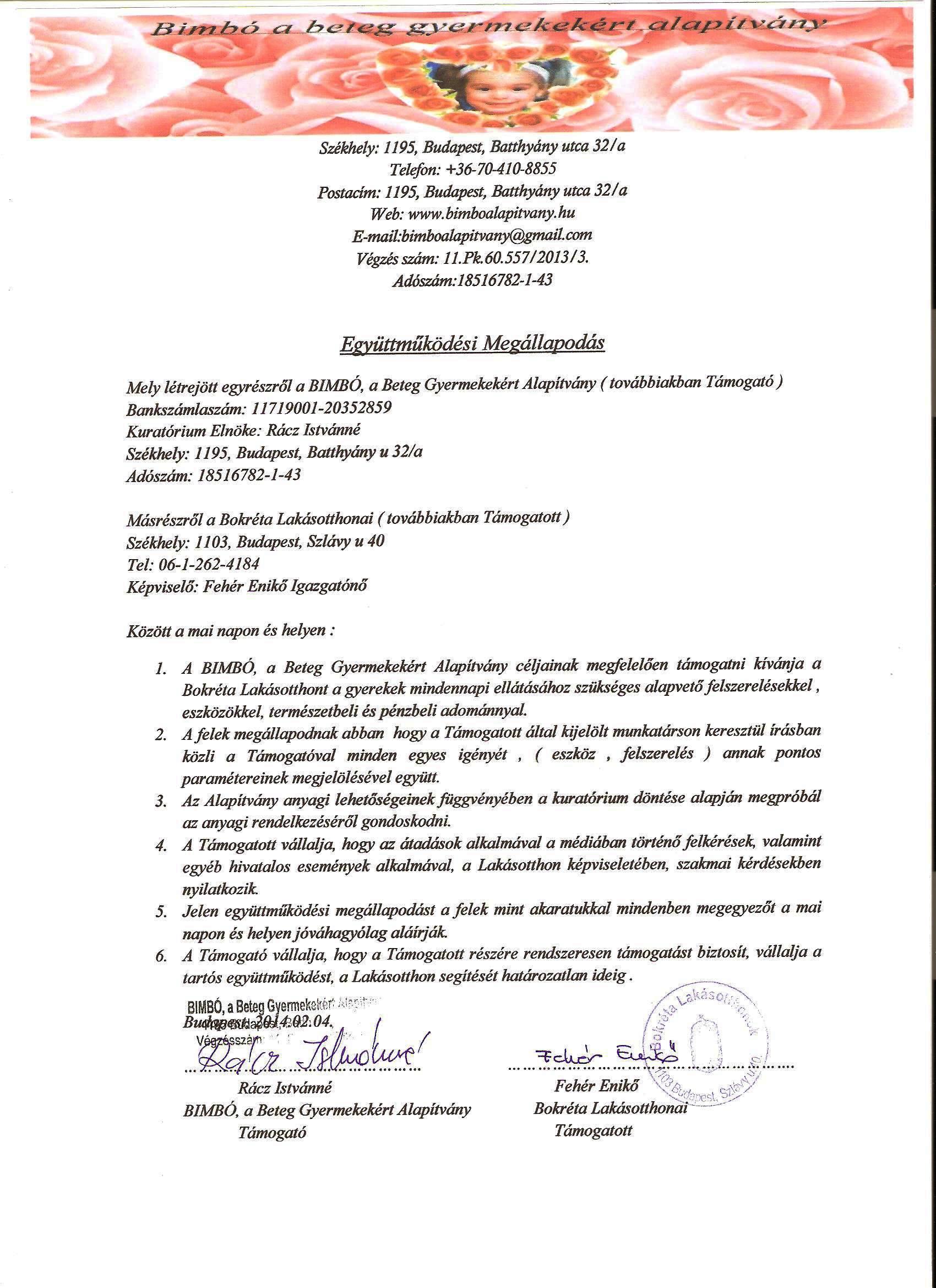 Bokréta Gyermekotthon Együttműködési Megállapodás