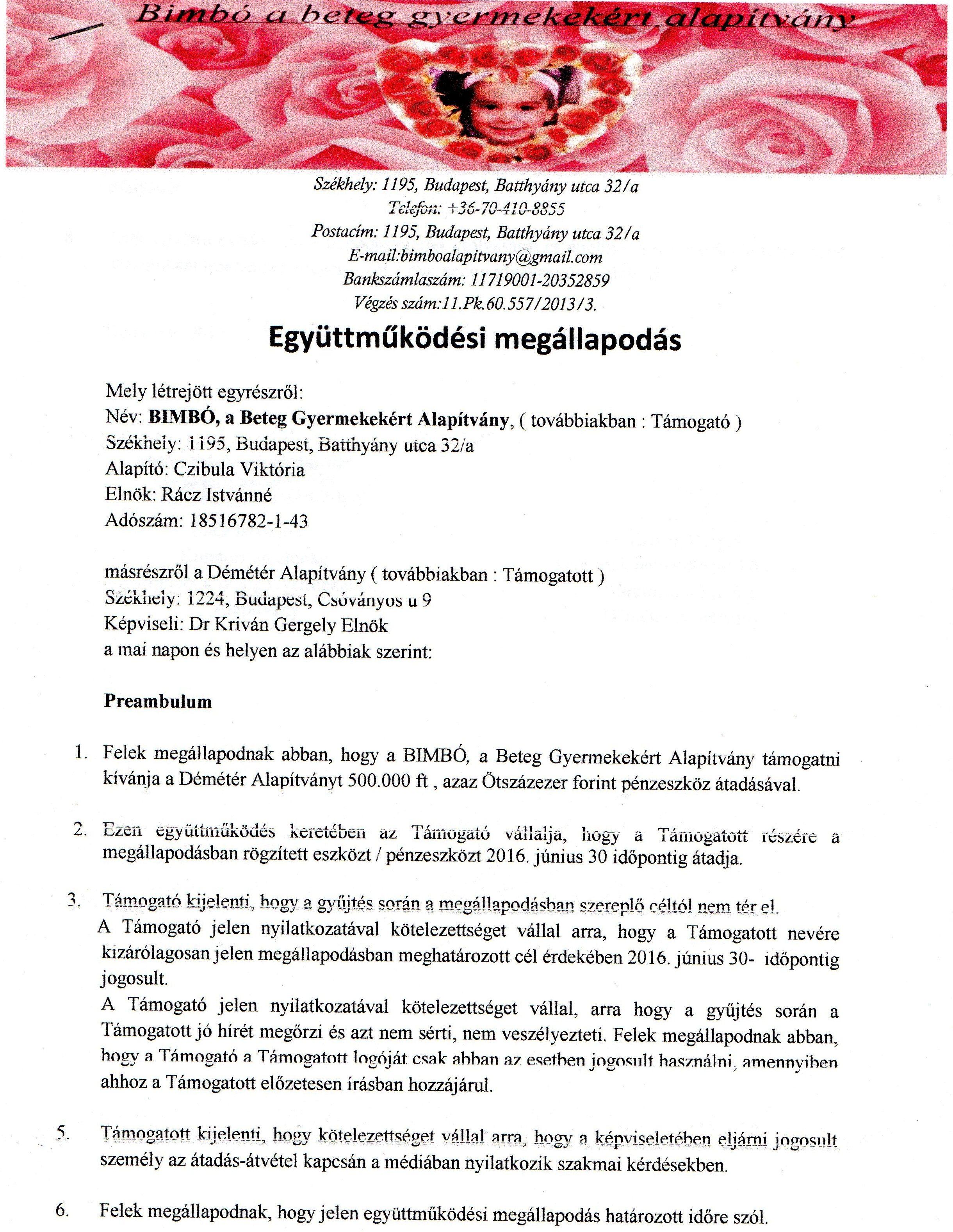 Démétér Alapítvány együttműködési megállapodás