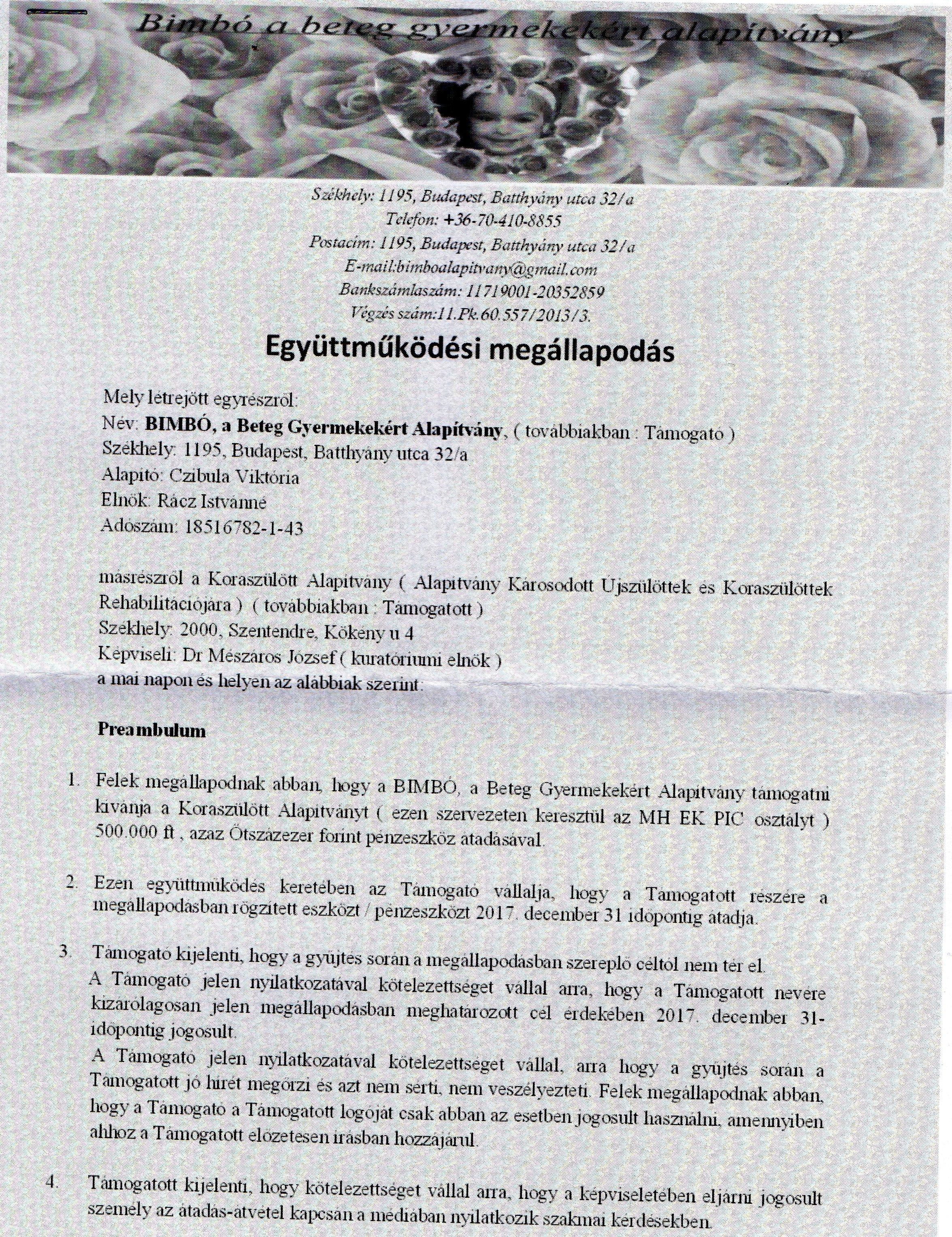 MH Koraszülött Intenzív Együttműködési megállapodás