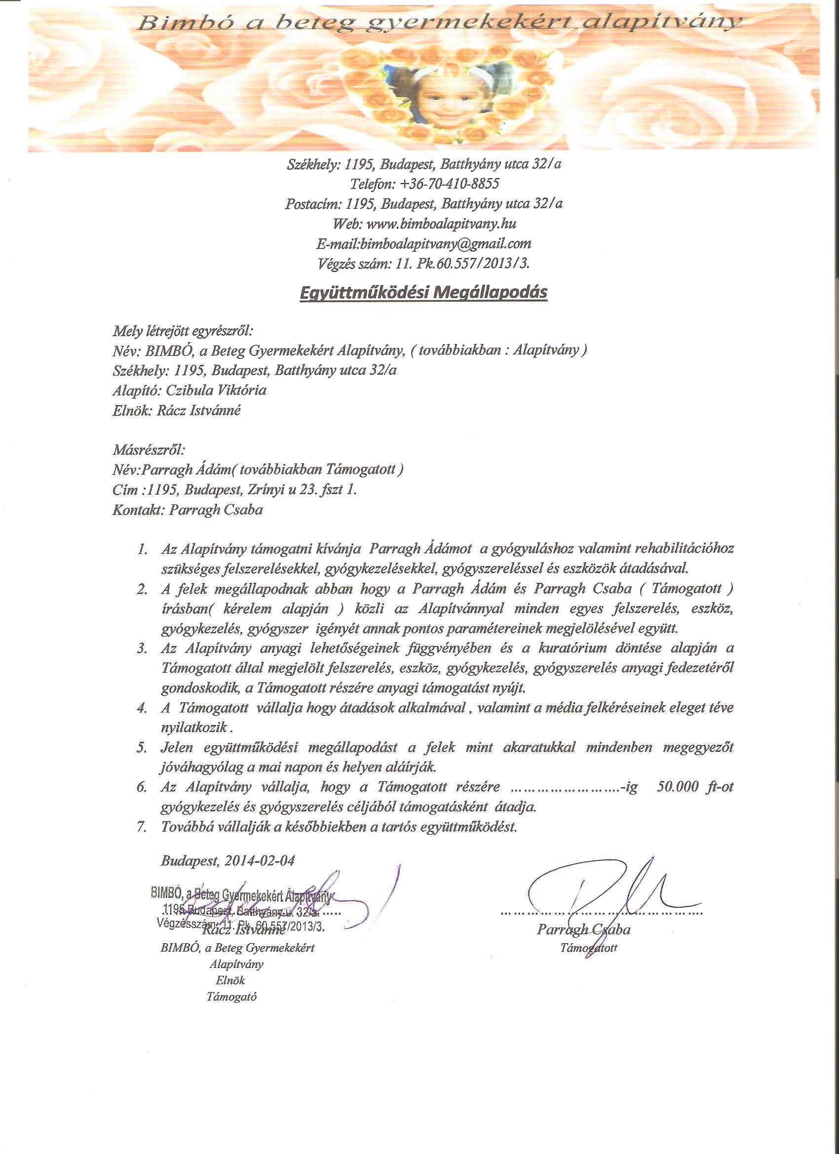 Parragh Ádám együttműködési megállapodás