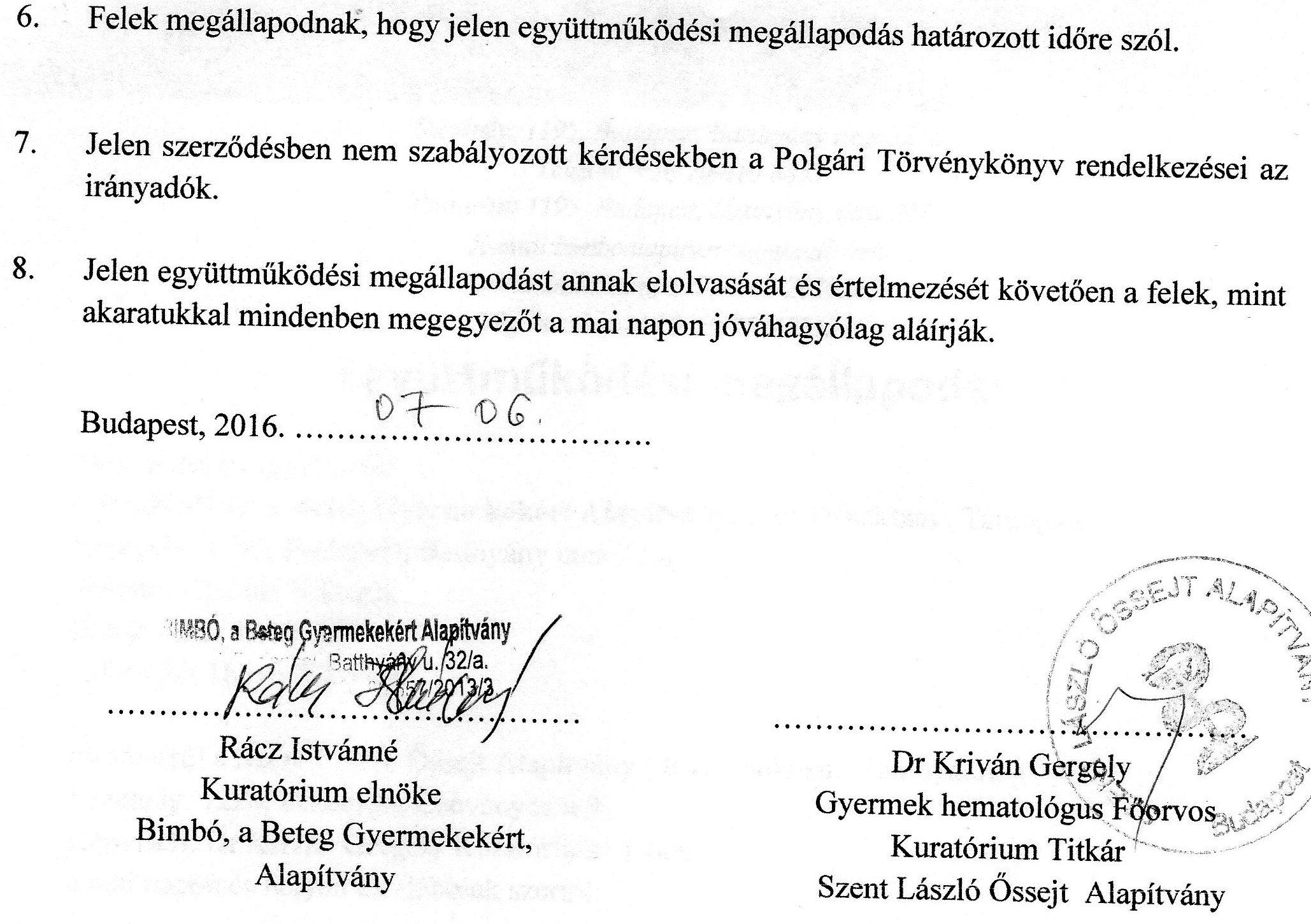 Szent László Kórház - Együttműködési megállapodás 2.