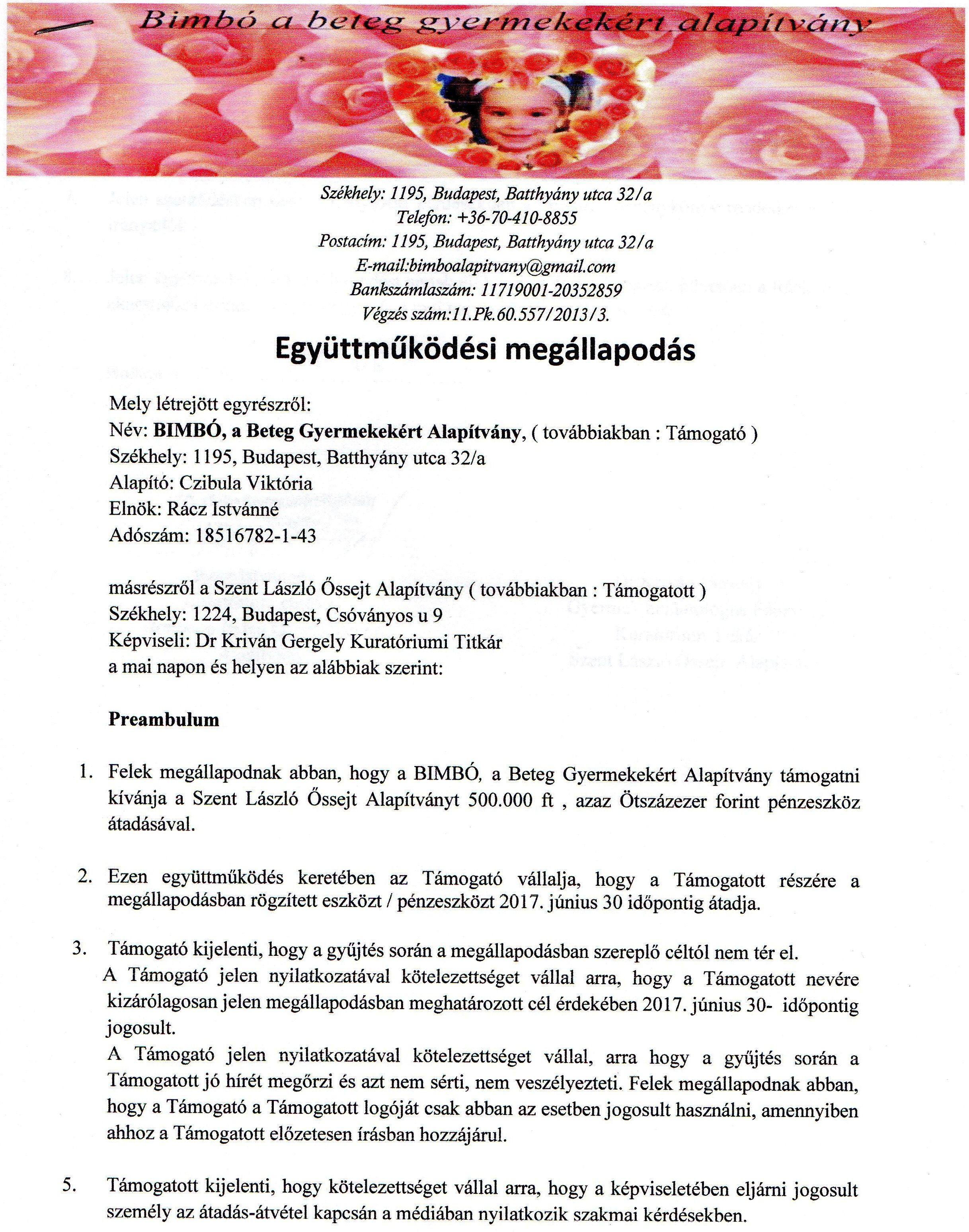 Szent László Kórház - Együttműködési megállapodás 1.