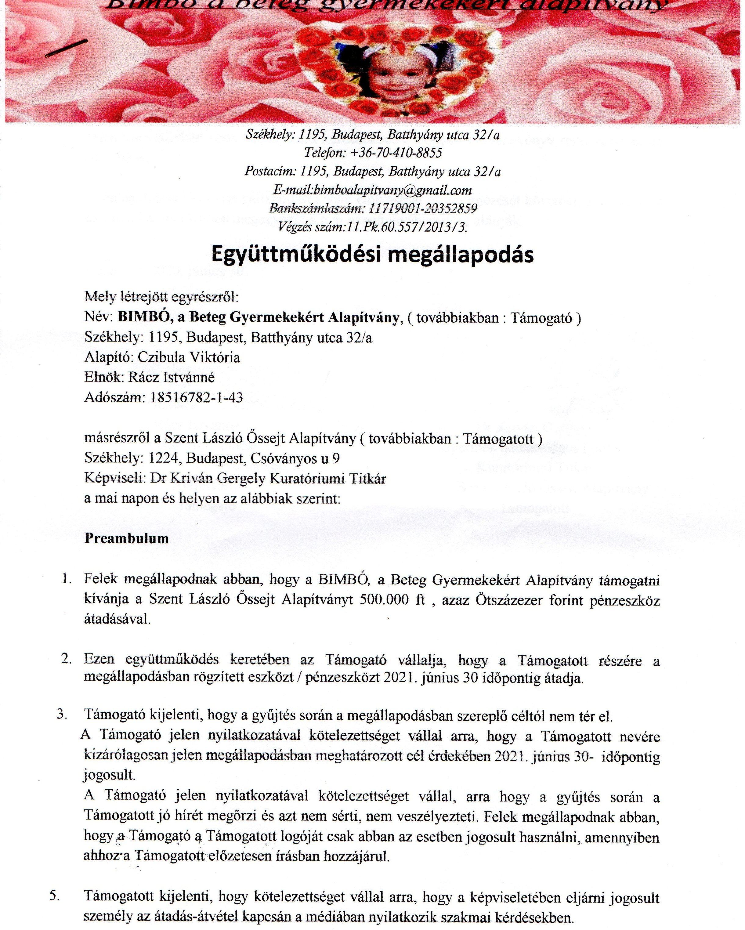 László Kórház Együttműködés 2020-2021